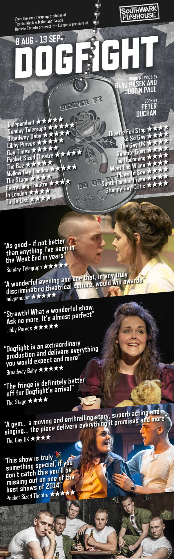 Dogfight Musical Southwark Playhouse Flyer