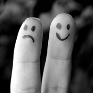 Fingers with Happy and Sad Faces